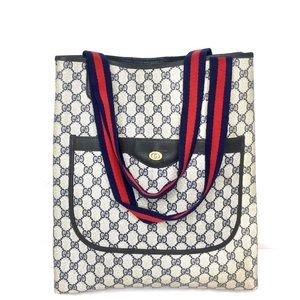 Authentic Gucci monogram navy and grey tote bag